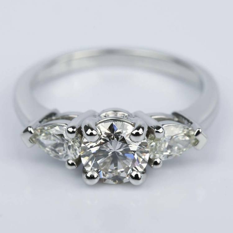 Pear Three-Stone Diamond Engagement Ring in Platinum (0.91 ct.)