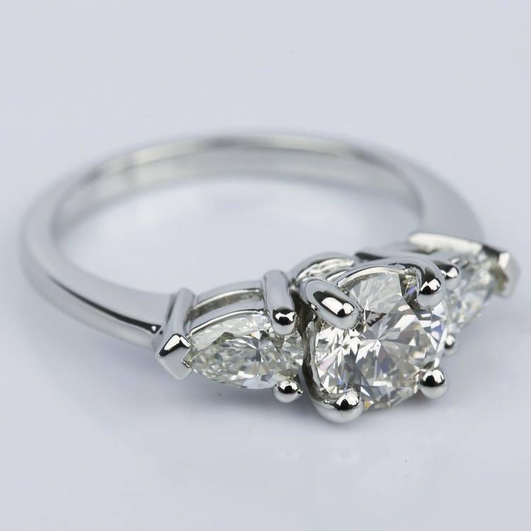 Pear Three-Stone Diamond Engagement Ring in Platinum (0.91 ct.)  angle 3