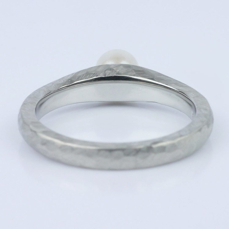 Custom Pearl Solitaire Engagement Ring in a Hammered Finish angle 4