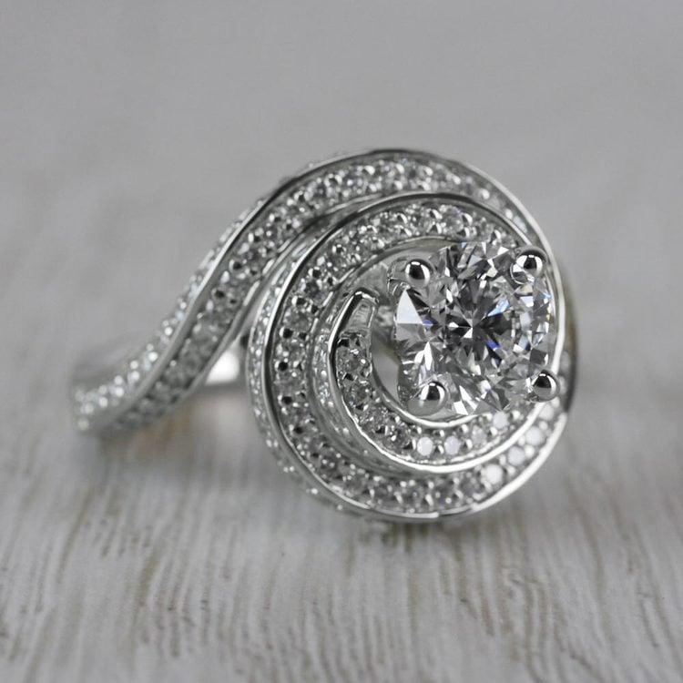 Perfect Swirl Engagement 1 Carat Diamond Ring angle 3