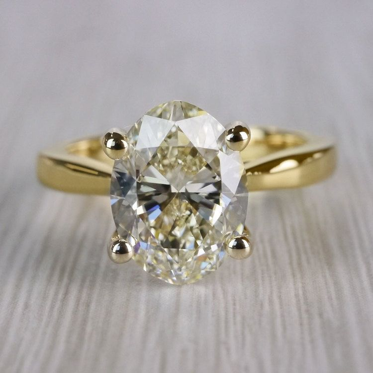 Perfect Taper Solitaire Engagement Oval Diamond Ring