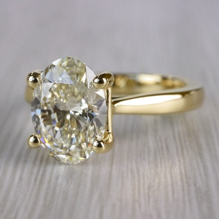 Perfect Taper Solitaire Engagement Oval Diamond Ring  angle 2