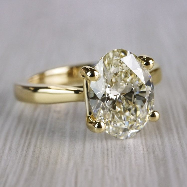 Perfect Taper Solitaire Engagement Oval Diamond Ring  angle 3