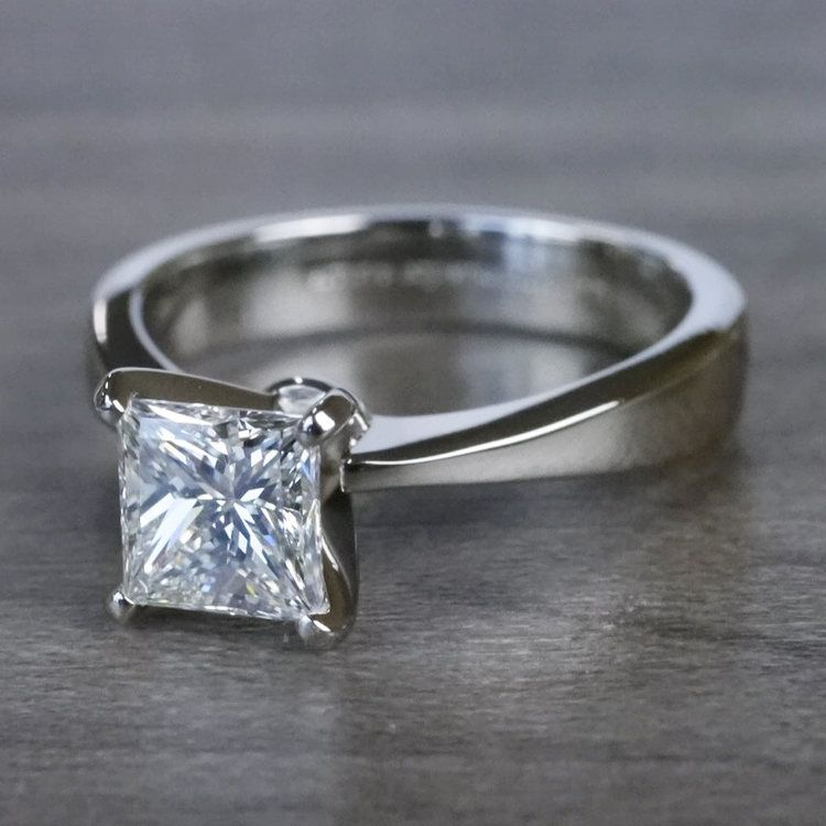 Perfection Princess Cut Diamond Solitaire Engagement Ring angle 2