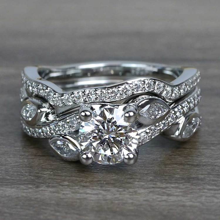 Perfectly Petaled Twisted 1.04 Carat Round Diamond Engagement Ring & Matching Band