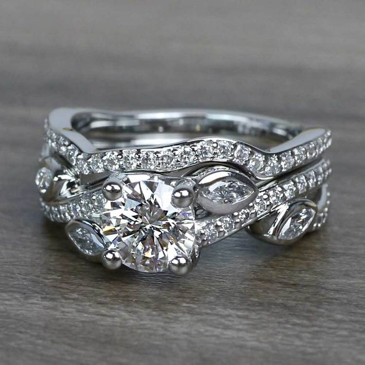 Perfectly Petaled Twisted 1.04 Carat Round Diamond Engagement Ring & Matching Band angle 2