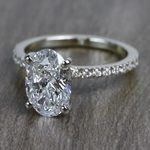 Perfectly Petite Oval Pave 2 Carat Diamond Ring - small angle 2