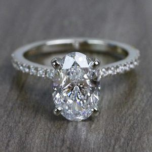 Perfectly Petite Oval Pave 2 Carat Diamond Ring