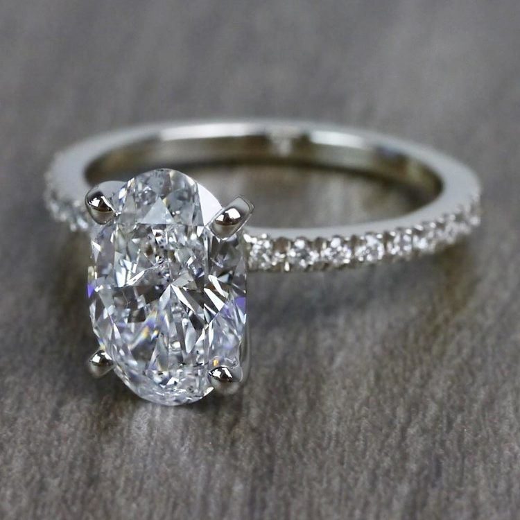 Perfectly Petite Oval Pave 2 Carat Diamond Ring angle 2