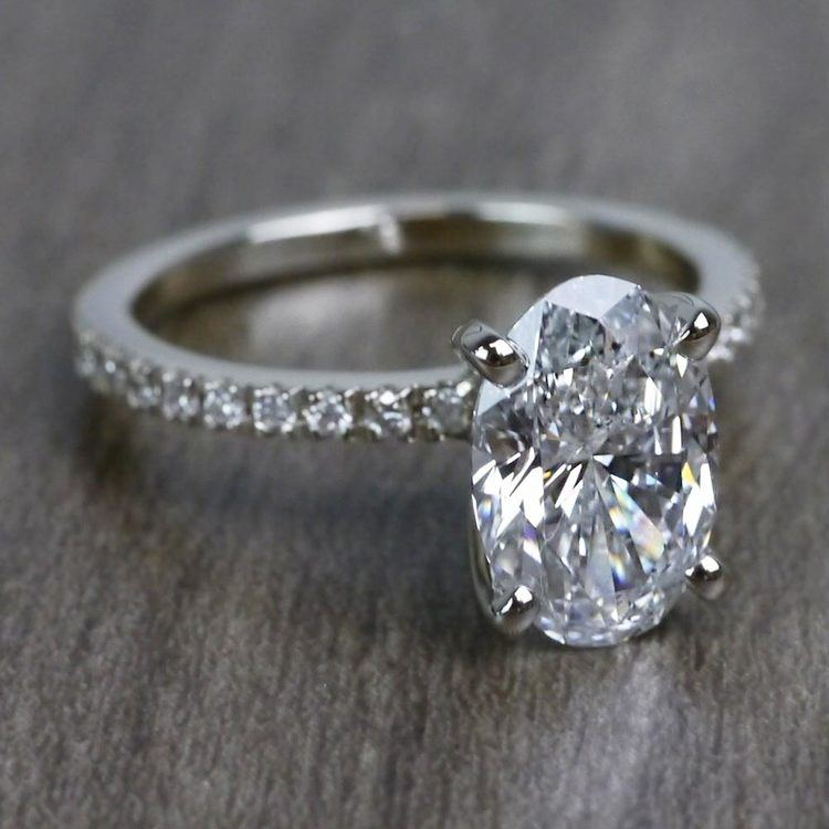 Perfectly Petite Oval Pave 2 Carat Diamond Ring angle 3