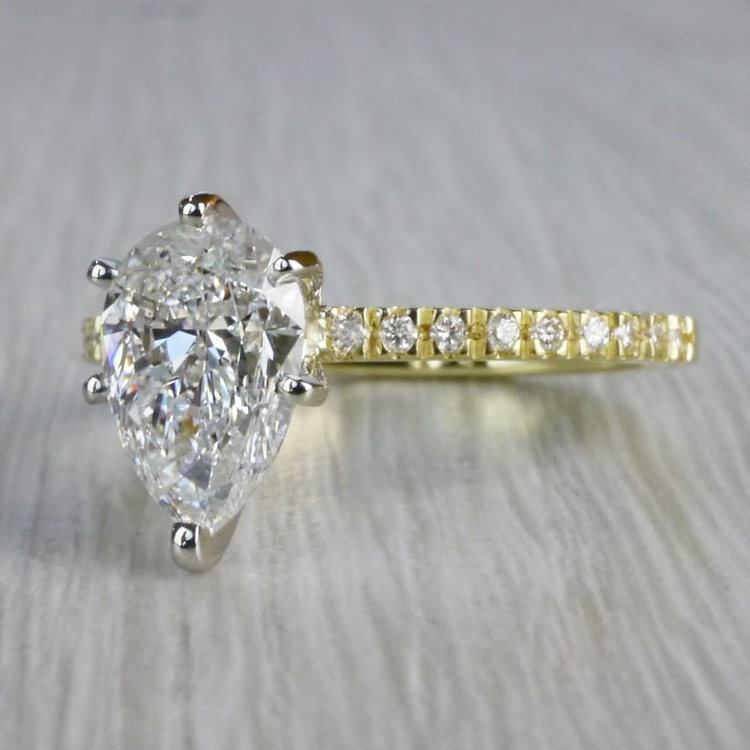 Perfectly Petite Yellow Gold Pear Shaped Engagement Ring angle 2