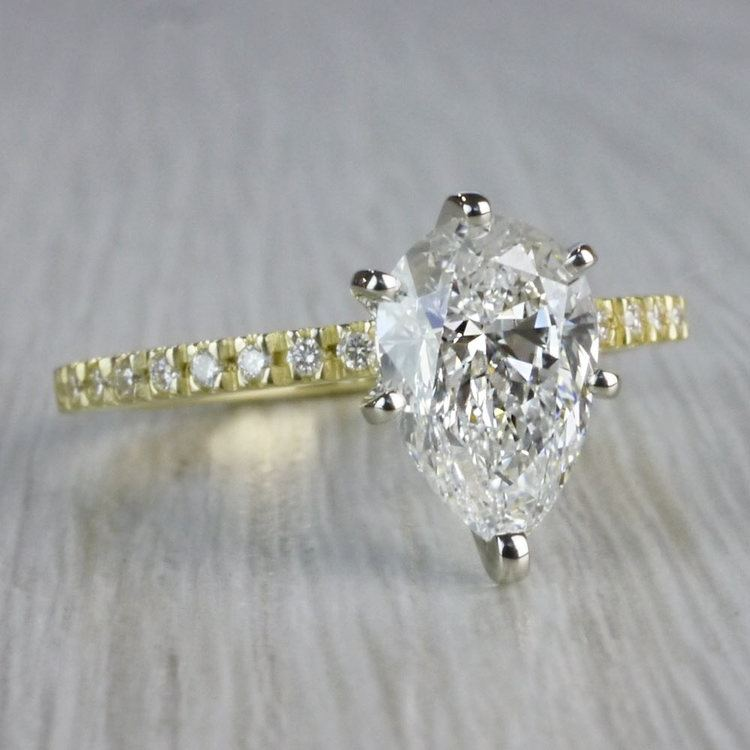 Perfectly Petite Yellow Gold Pear Shaped Engagement Ring angle 3