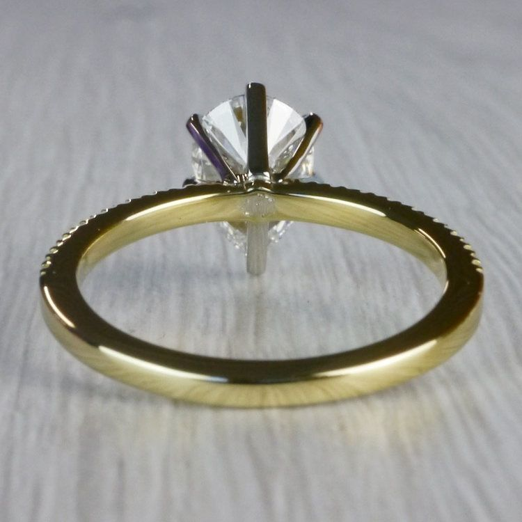 Perfectly Petite Yellow Gold Pear Shaped Engagement Ring angle 4
