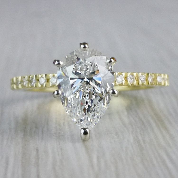 Perfectly Petite Yellow Gold Pear Shaped Engagement Ring
