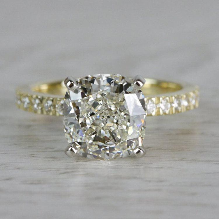 Petite & Pave Yellow Gold Cushion Cut 3 Carat Diamond Ring