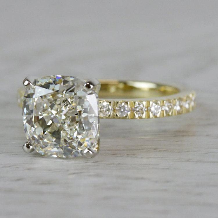 Petite & Pave Yellow Gold Cushion Cut 3 Carat Diamond Ring angle 2