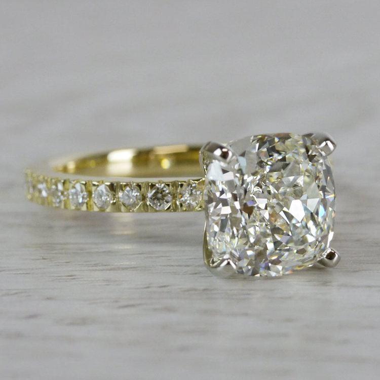 Petite & Pave Yellow Gold Cushion Cut 3 Carat Diamond Ring angle 3