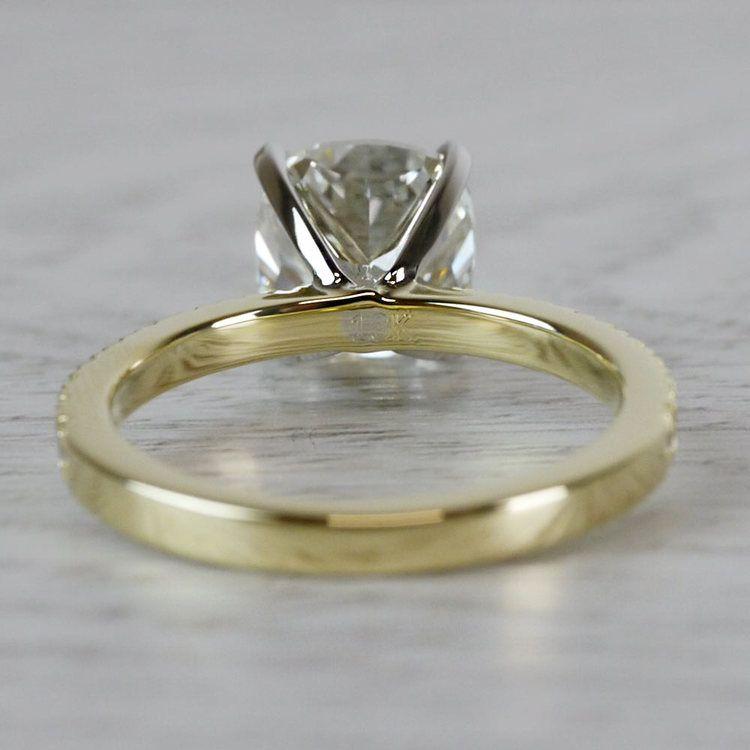 Petite & Pave Yellow Gold Cushion Cut 3 Carat Diamond Ring angle 4