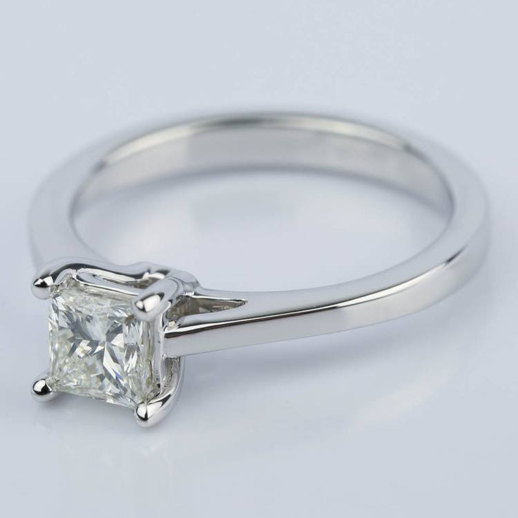 Petite Cathedral 0.70 Carat Princess Diamond Engagement Ring angle 2