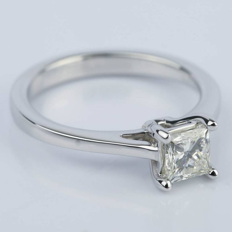 Petite Cathedral 0.70 Carat Princess Diamond Engagement Ring angle 3