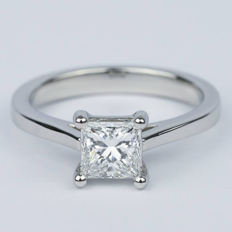 Petite Cathedral 1 Carat Princess Diamond Engagement Ring