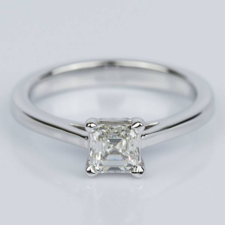 Petite Cathedral Asscher Engagement Ring in White Gold (0.70 ct.)