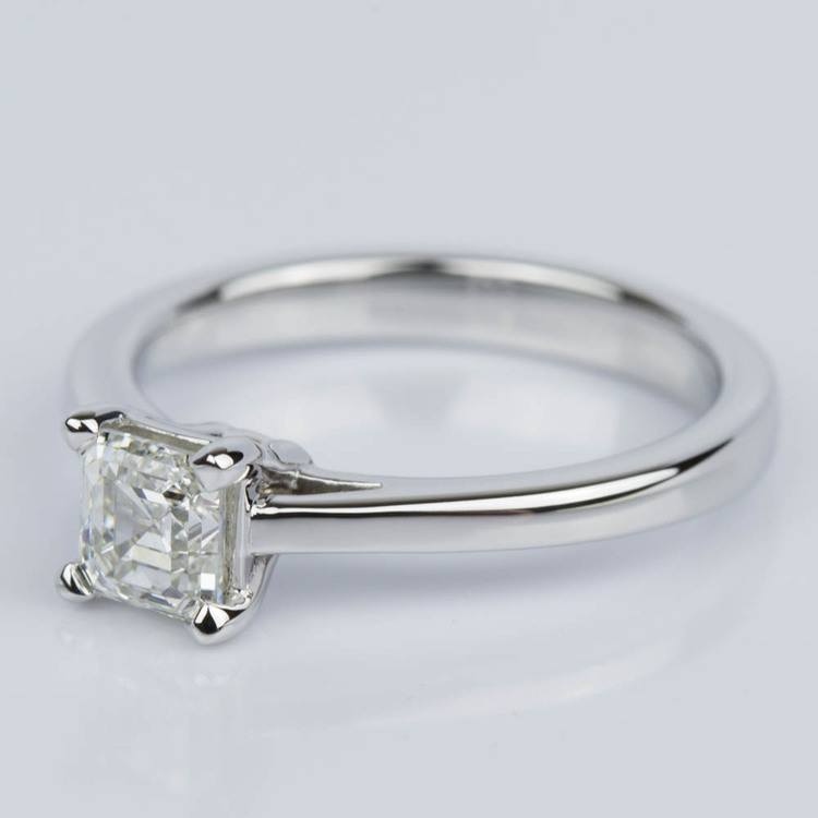 Petite Cathedral Asscher Engagement Ring in White Gold (0.70 ct.) angle 2