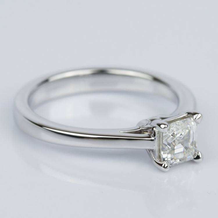 Petite Cathedral Asscher Engagement Ring in White Gold (0.70 ct.) angle 3