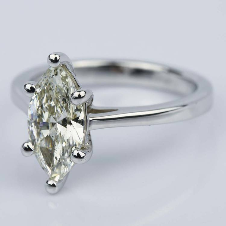 Petite Cathedral Marquise Diamond Engagement Ring (1.41 ct.) angle 2