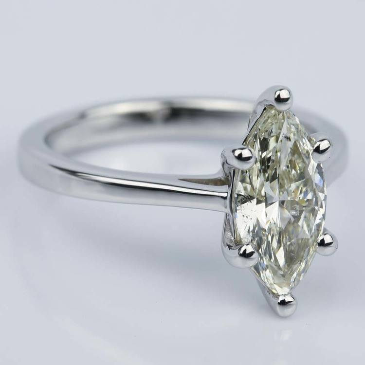 Petite Cathedral Marquise Diamond Engagement Ring (1.41 ct.) angle 3