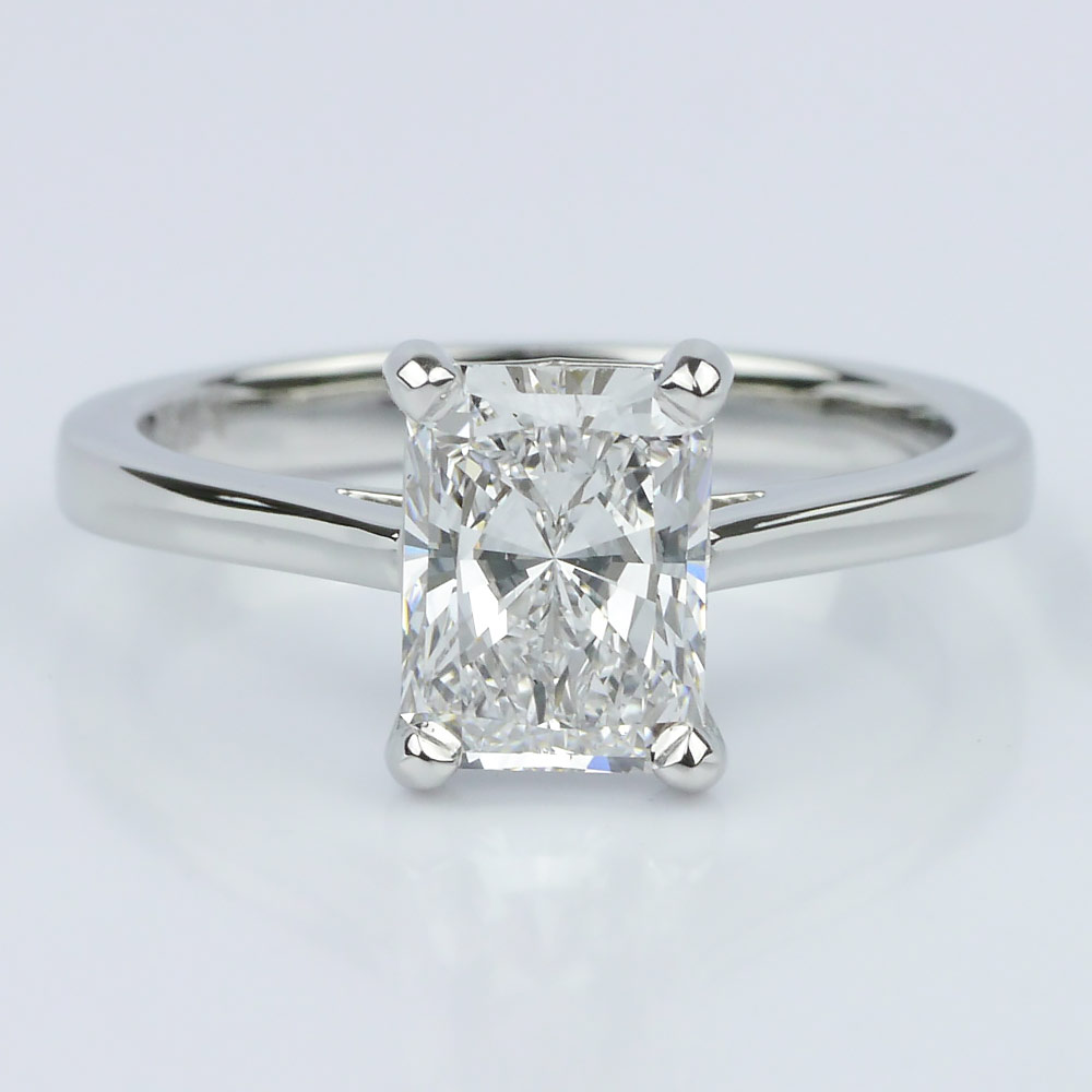 Petite Cathedral Radiant Solitaire Engagement Ring (1.60 Ct