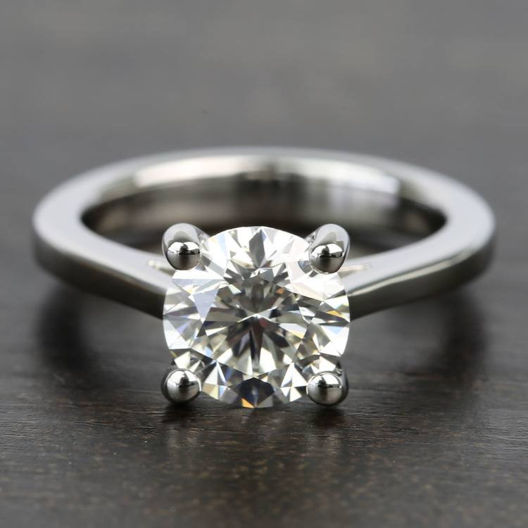 Petite Cathedral Round Solitaire Diamond Engagement Ring