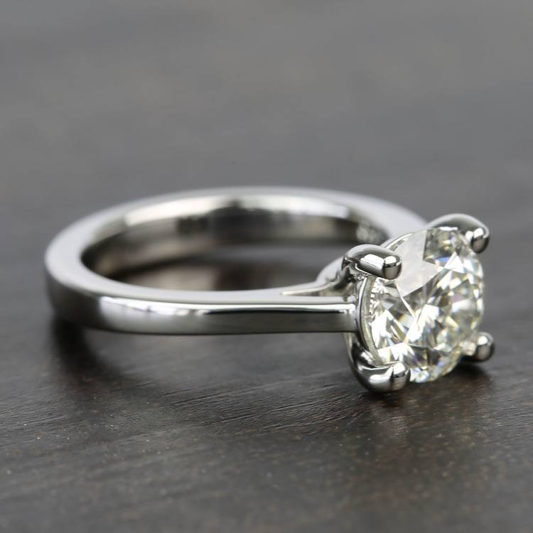 Petite Cathedral Round Solitaire Diamond Engagement Ring angle 3