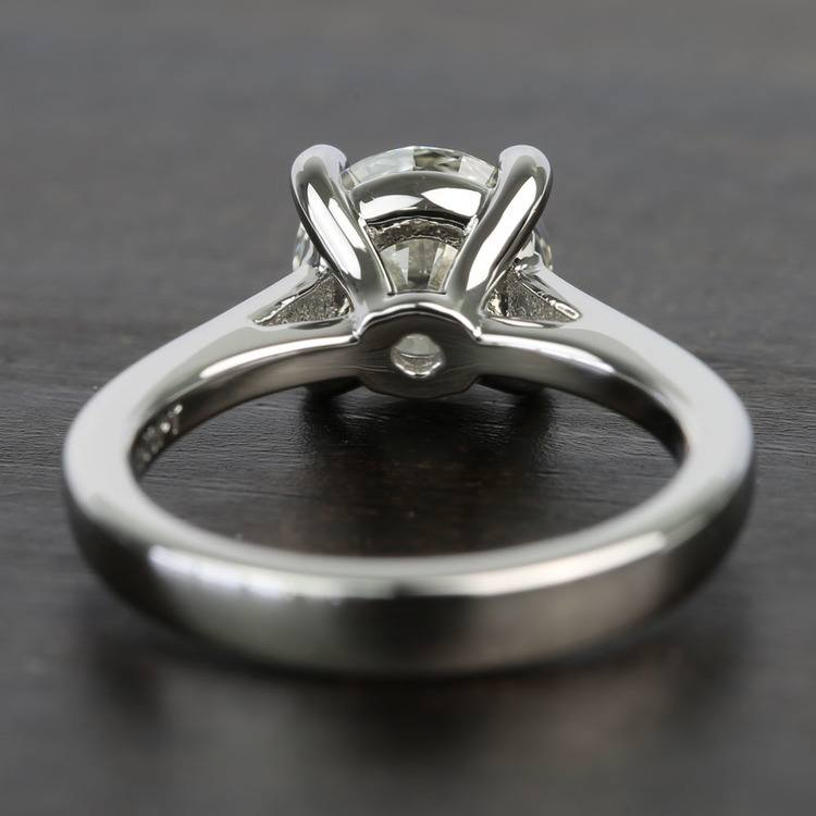 Petite Cathedral Round Solitaire Diamond Engagement Ring angle 4