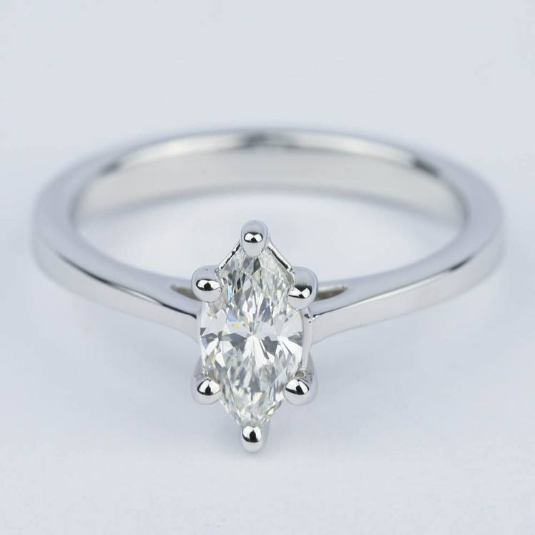 Marquise Diamond Cathedral Engagement Ring (0.72 ct.)