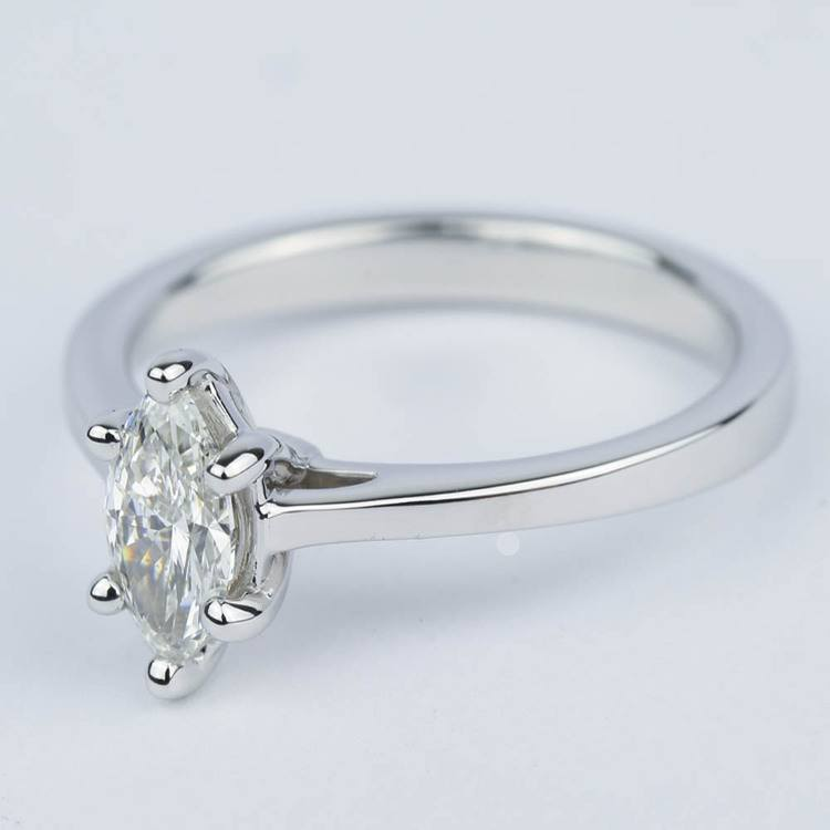 Marquise Diamond Cathedral Engagement Ring (0.72 ct.) angle 2
