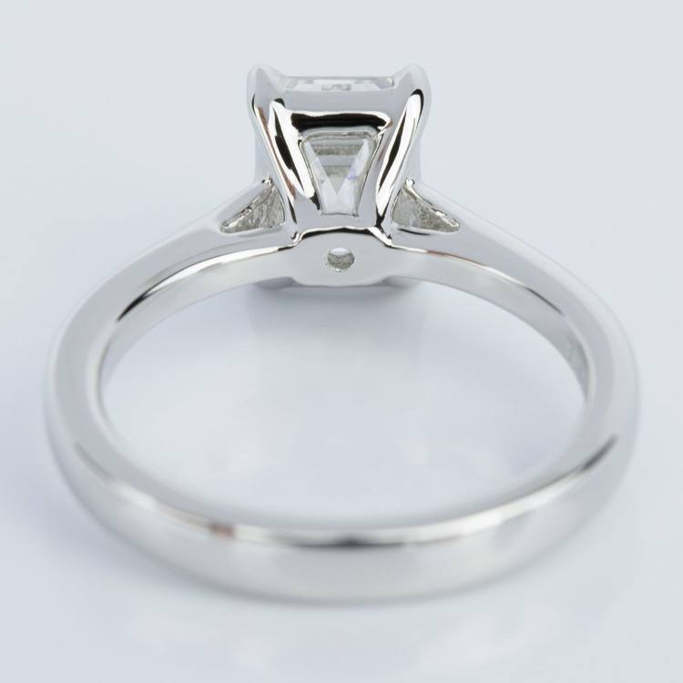 Petite Cathedral Solitaire Emerald Diamond Engagement Ring in Platinum (1.50 ct.) angle 4