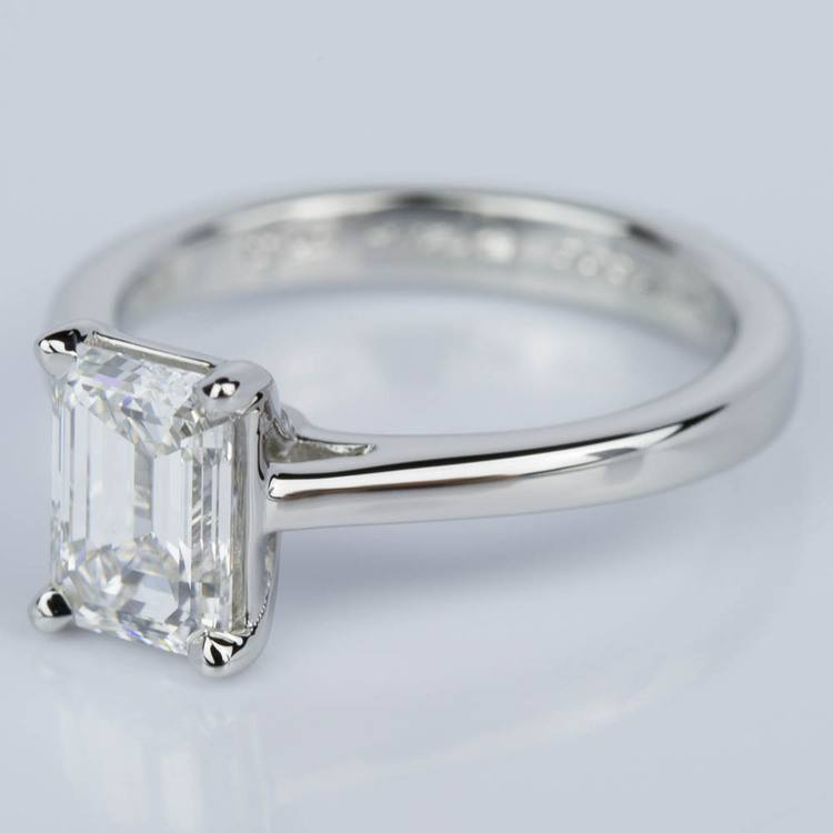 Petite Cathedral Solitaire Emerald Diamond Engagement Ring in Platinum (1.50 ct.) angle 2
