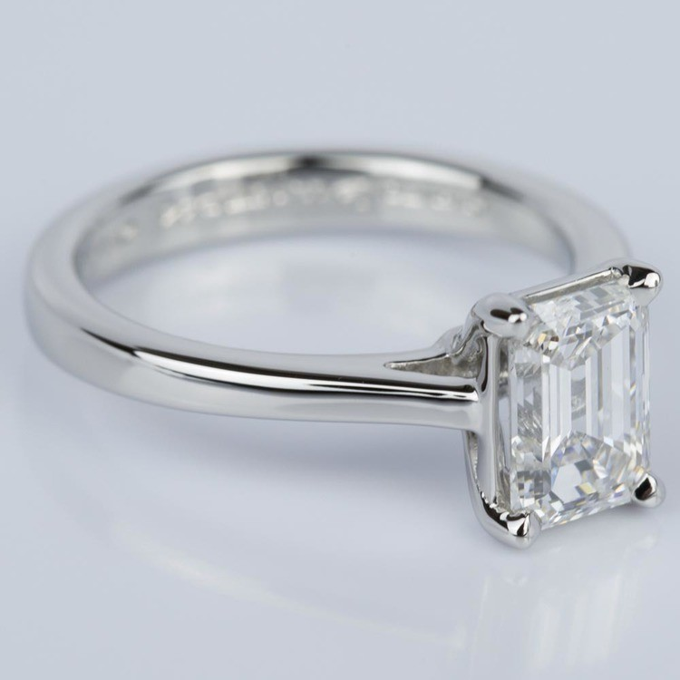 Petite Cathedral Solitaire Emerald Diamond Engagement Ring in Platinum (1.50 ct.) angle 3