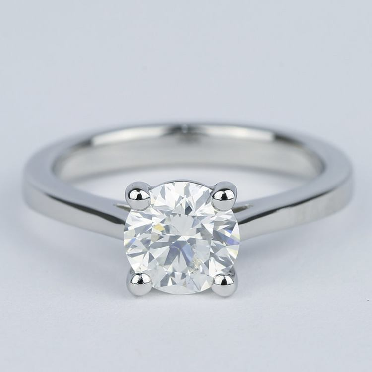 Petite Cathedral Solitaire Diamond Engagement Ring (1.20 Carat)