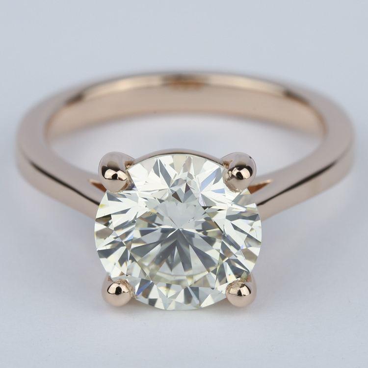 Petite Diamond Engagement Ring in Rose Gold (3.50 Carat)