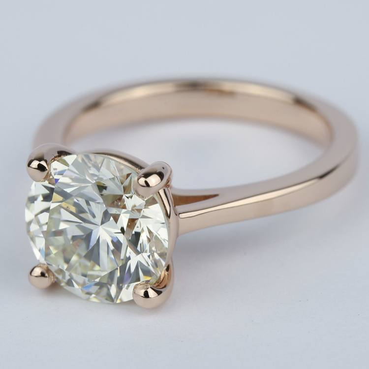 Petite Diamond Engagement Ring in Rose Gold (3.50 Carat) angle 2