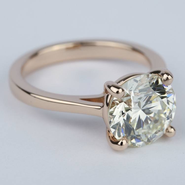 Petite Diamond Engagement Ring in Rose Gold (3.50 Carat) angle 3