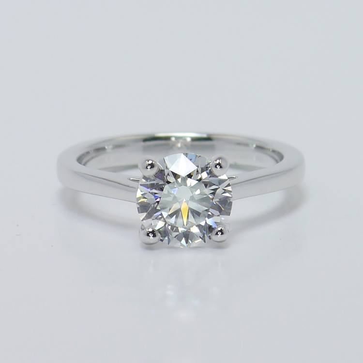 Petite Cathedral Solitaire Diamond Engagement Ring (1.86 Carat)