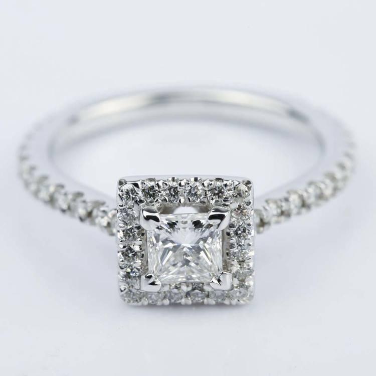 Petite Halo 0.41 Carat Princess Diamond Engagement Ring