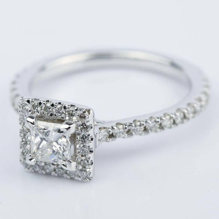 Petite Halo 0.41 Carat Princess Diamond Engagement Ring angle 2