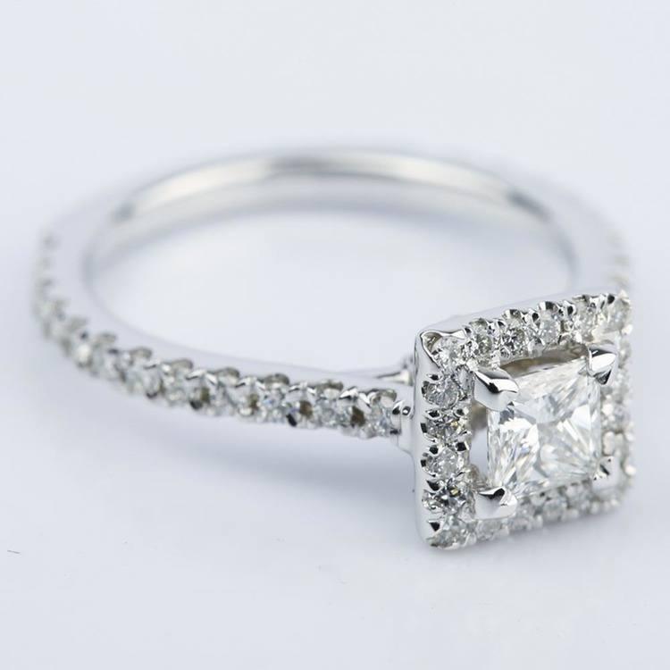 Petite Halo 0.41 Carat Princess Diamond Engagement Ring angle 3
