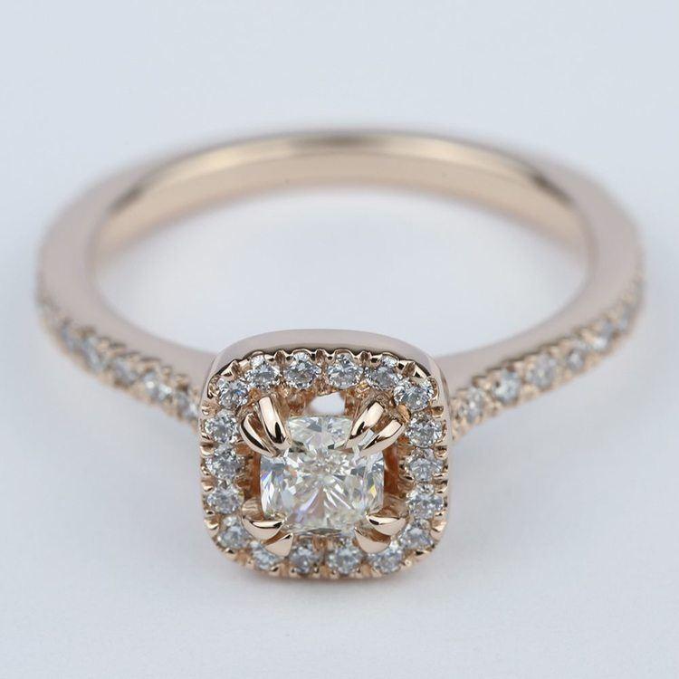 Petite Halo Cushion Diamond Engagement Ring (1/2 Carat)