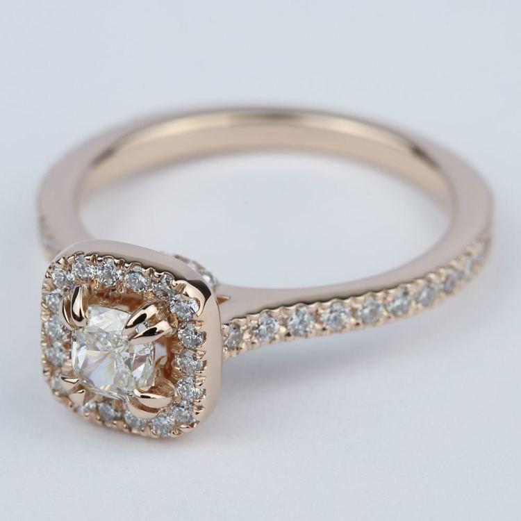Petite Halo Cushion Diamond Engagement Ring (1/2 Carat) angle 2