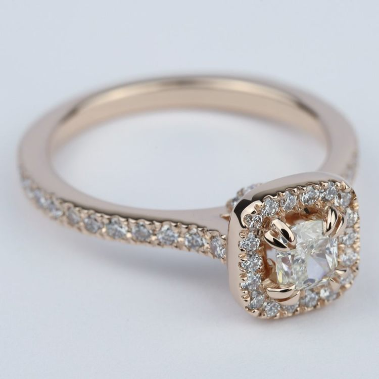 Petite Halo Cushion Diamond Engagement Ring (1/2 Carat) angle 3